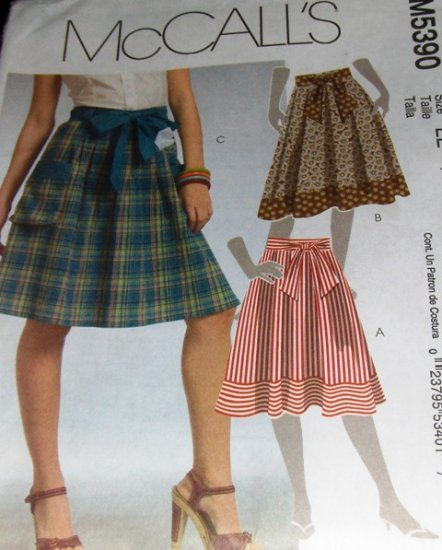 Skirt Pattern With Bow Tie Belt McCall's Sewing Pattern 5390 size 14 16 18 20 Full skirt