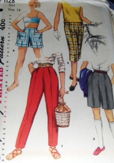 Vintage shorts Sewing Pattern Girl's size 14 Bermudas  Pedal Pushers Slacks 1955 Simplicity 1128