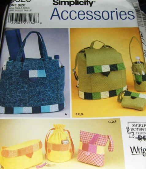 Quilted Bag Back Pack Fanny Pack Fat Quarters Sewing Pattern Simplicity Accessories 5320