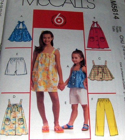 Girl's Summer wardrobe shorts tops dresses pants 6 great looks McCall's 5614 Size 7 8 10 12 14