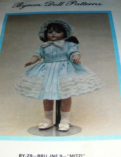Byron Doll Sewing Pattern for 12 inch Antique reproduction Doll Dress Hat MITZI