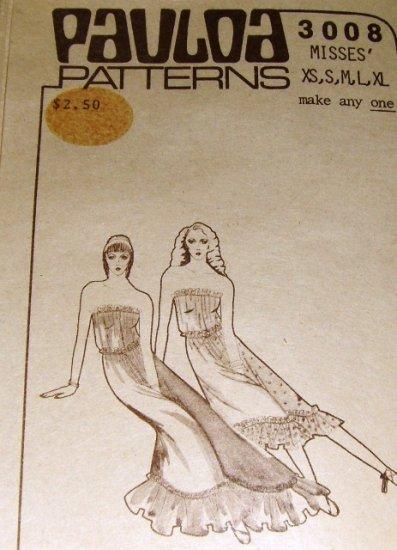 Vintage Pauloa Hawaiian Sewing Pattern Strapless Blouson Top, short long skirt Size XS S M L XL 3008
