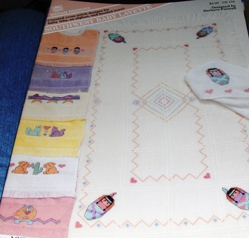 Southwest Baby Layette Cross Stitch Pattern Bibs Blanket Indian Papoose