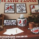 Plastic Canvas Cardinals Chickadees tissue cover, magnets, coasters, bookends patterns