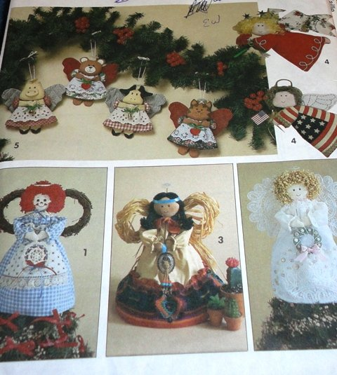 Simplicity Crafts Pattern Angel Christmas Tree  tops Ornaments Sewing Pattern Simplicity 8687