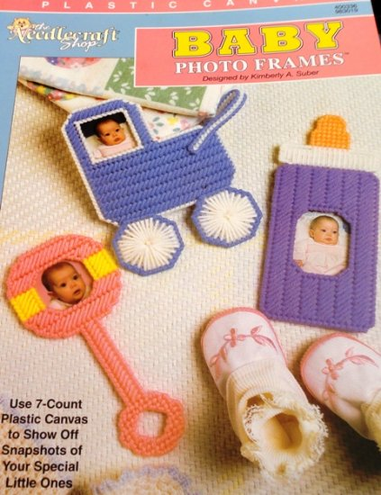 Plastic Canvas Pattern Baby Photo Frames, rattle, bottle and baby ...