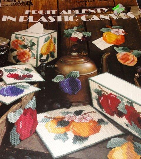 Fruit Aplenty tissue cover, magnets, coasters, doorstop Plastic Canvas Pattern