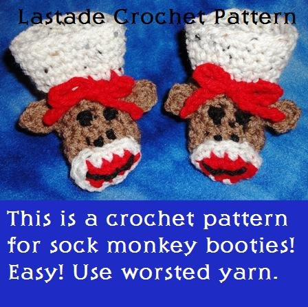 Sock Monkey Baby Booties Crochet Pattern PDF Instructions by LaStade