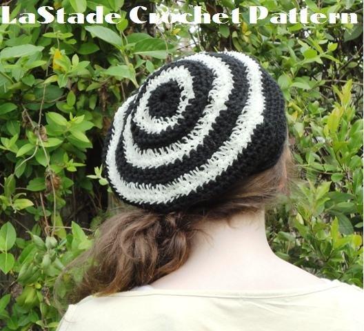 Glow in the Dark Bull's-eye Beret Hat Crochet Instructions LaStade-Designs PDF Pattern