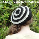 Glow in the Dark Bull's-eye Beret Hat Crochet Instructions LaStade-Designs PDF Pattern