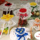 Floral Jar Lid Covers Crochet Pattern Maggie Weldon design  1145