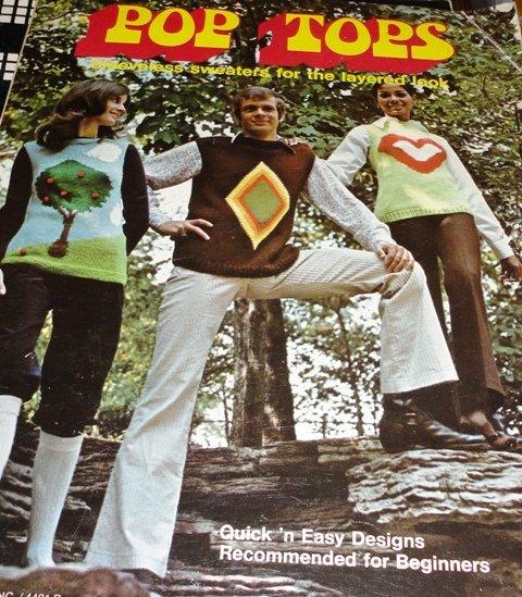 Retro 70's Sweater Vests Leisure Arts Leaflet #1 Smiley Face Flower Power