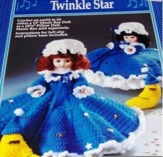 Fibre Craft Pillow Doll Music Box Doll Dress Twinkle Star Crochet Pattern FCM211