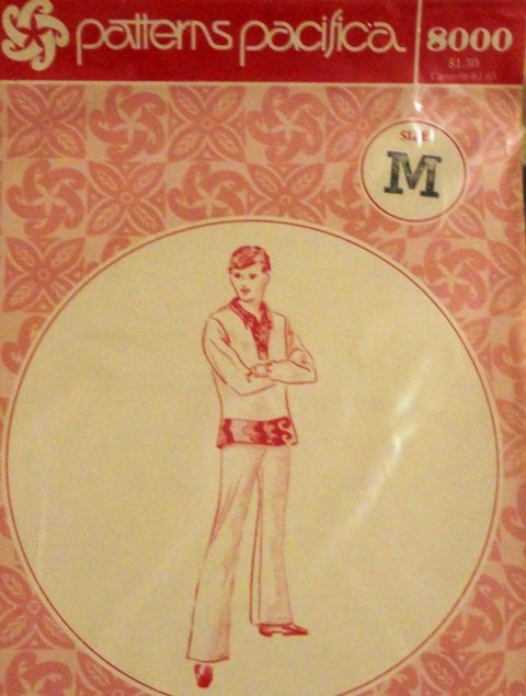Vintage Men's Hawaiian Tunic Shirt Sewing Pattern from Patterns Pacifica 8000 size Medium