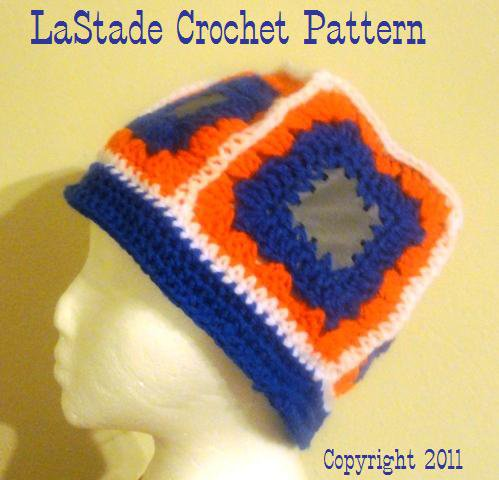 Beanie Hat PDF Crochet Pattern Reflective Granny Square Hat adult size extra large and large