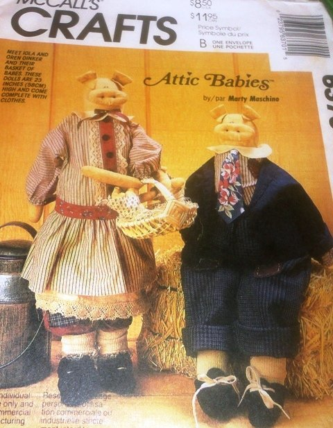 McCall's 6370 Attic Babies Pig Dolls sewing pattern