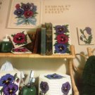 Plastic Canvas Pansies in Bloom tissue cover, doorstop, coasters, switch plate cover