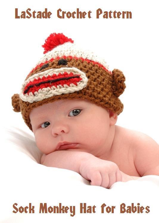 Sock Monkey Hat Crochet Pattern Instructions Baby Toddler Newborn Size to 2 years by LaStade