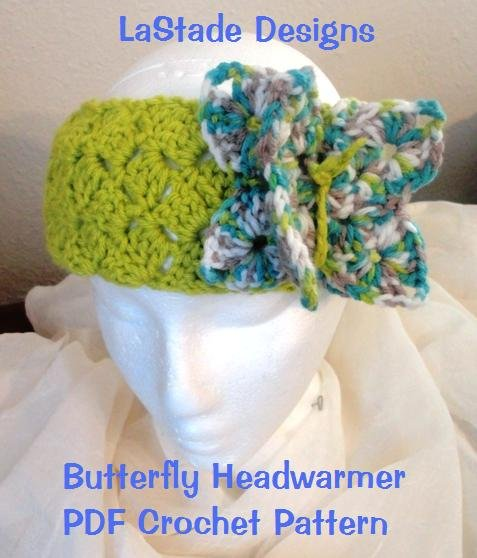 PDF Crochet Pattern Butterfly Earwarmers Headband Hat
