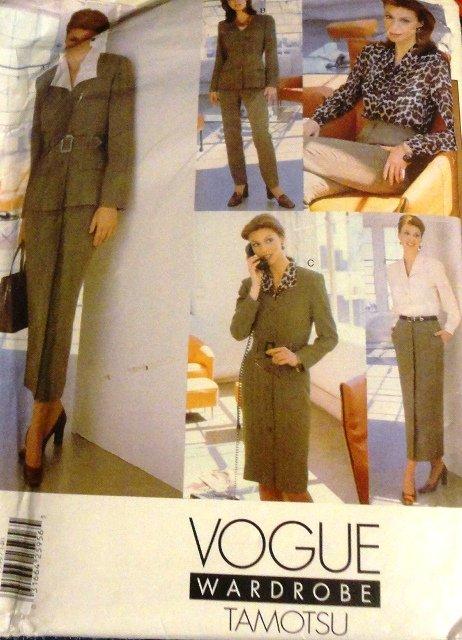 Vogue Wardrobe Sewing Pattern 1999 Tamotsu Blazer, skirt, slacks, top, dress size 14,16, 18