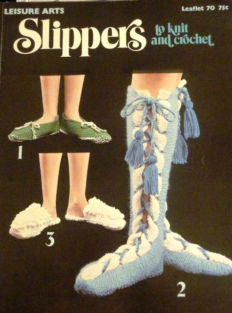 Leisure Arts Retro Slippers Pattern to knit and crochet 6 styles Leaflet 70