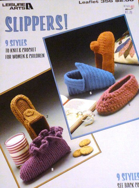 Leisure Arts Retro Slippers Pattern to knit and crochet Moccasins, After Ski Boots #356