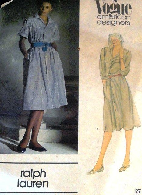 Ralph Lauren Vogue Sewing Pattern American Designers 2716 size 10 Shirtwaist Dress