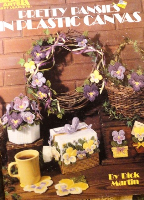 Plastic Canvas Pattern 1334 Pretty Pansies tissue cover, coasters, magnets, centerpiece