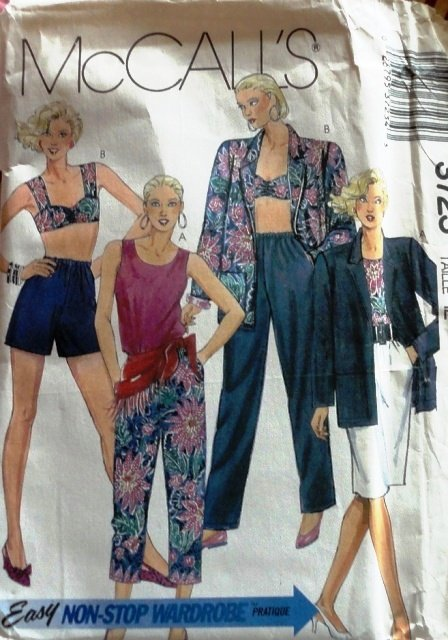 Bra Top, Jacket, capris, shorts, pants, skirt Sewing Pattern McCall's 3723 size 12