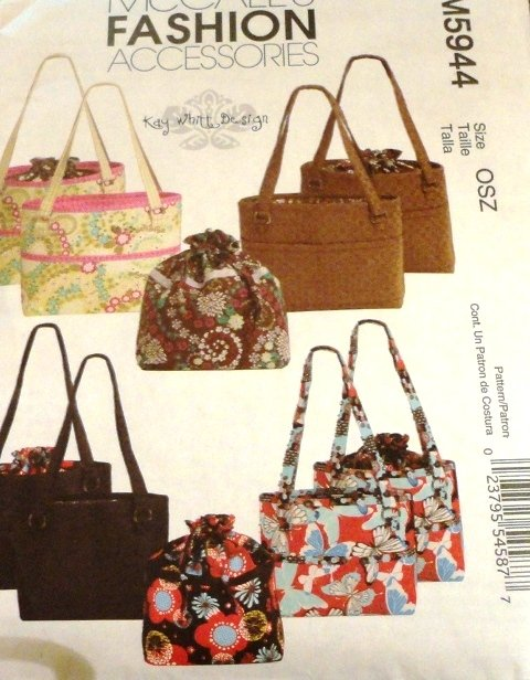 Sewing Pattern Bag and Tote in two sizes McCall's 5944 Fashion Accessories Purses
