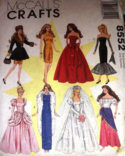 McCall's 8552 Fashion Doll Sewing Pattern Doll Bridal Gown evening gown Cinderella Gown