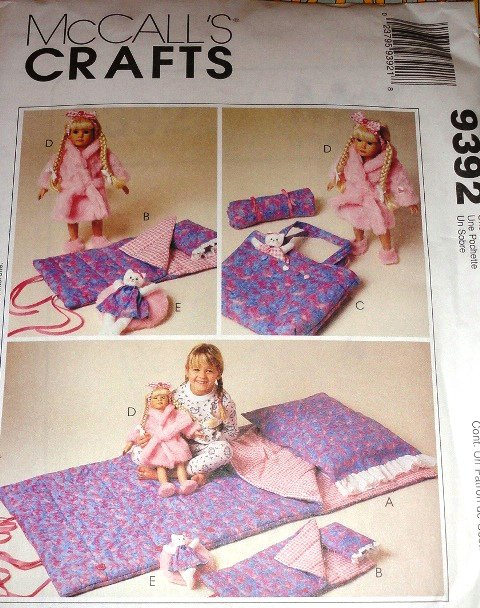 "Sleeping Bag for Child McCall's 9392  for Child and 18"" doll Slumber Party UNCUT Sewing Pattern"