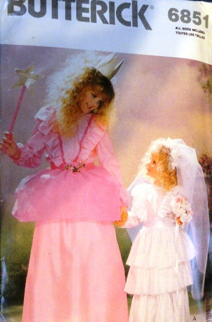 Butterick 6851 Fairy Princess Bride Halloween Costume Sewing Pattern For Child sizes 2 - 14