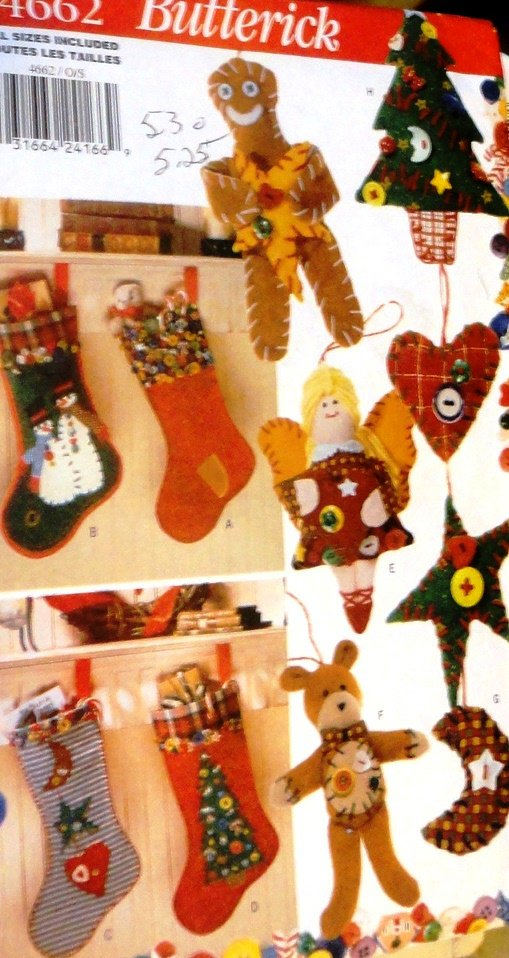 Butterick 4662 Button Ornaments Sewing Pattern Gingerbread Man, Angel, Stockings