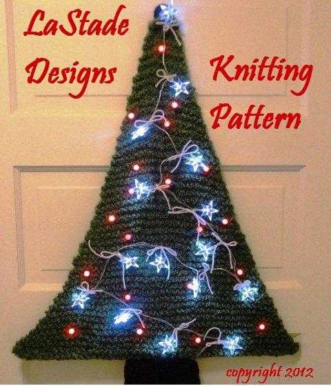 Christmas Tree Lighted Door Decoration Knitting Pattern LaStade Designs