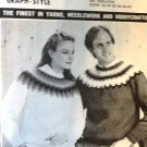 Mary Maxim Ski Sweater Fair Isle Knitting Pattern  8443-44 Graph Style