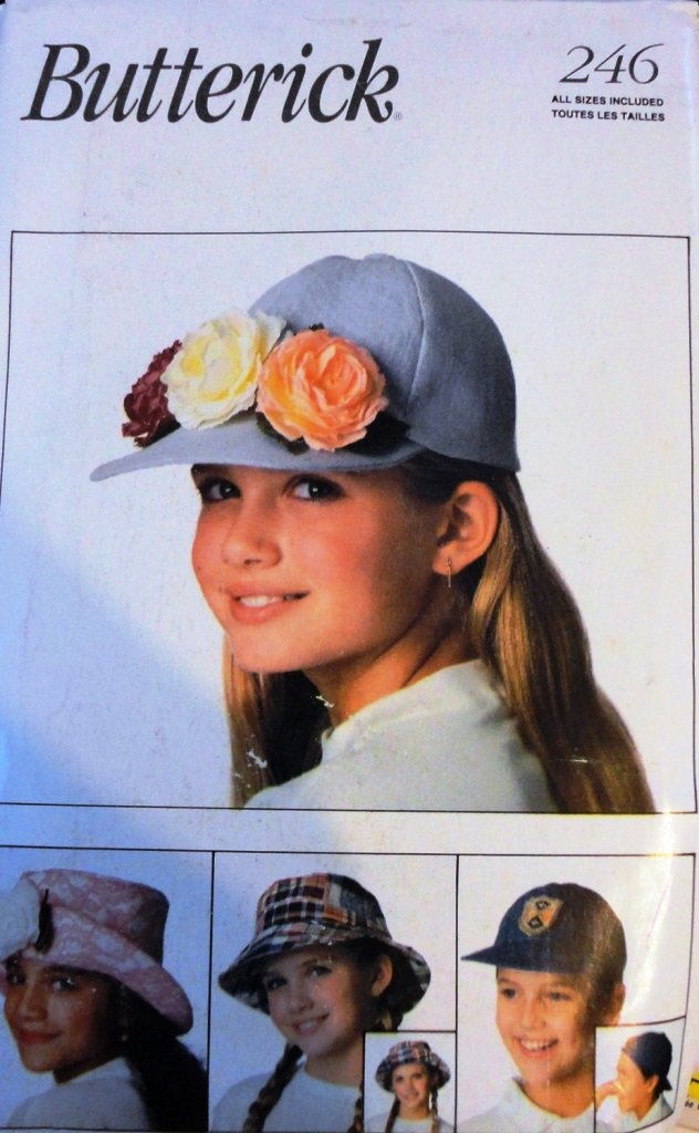 Butterick 246 Child's Hat sewing pattern Boys and Girls 8 designs
