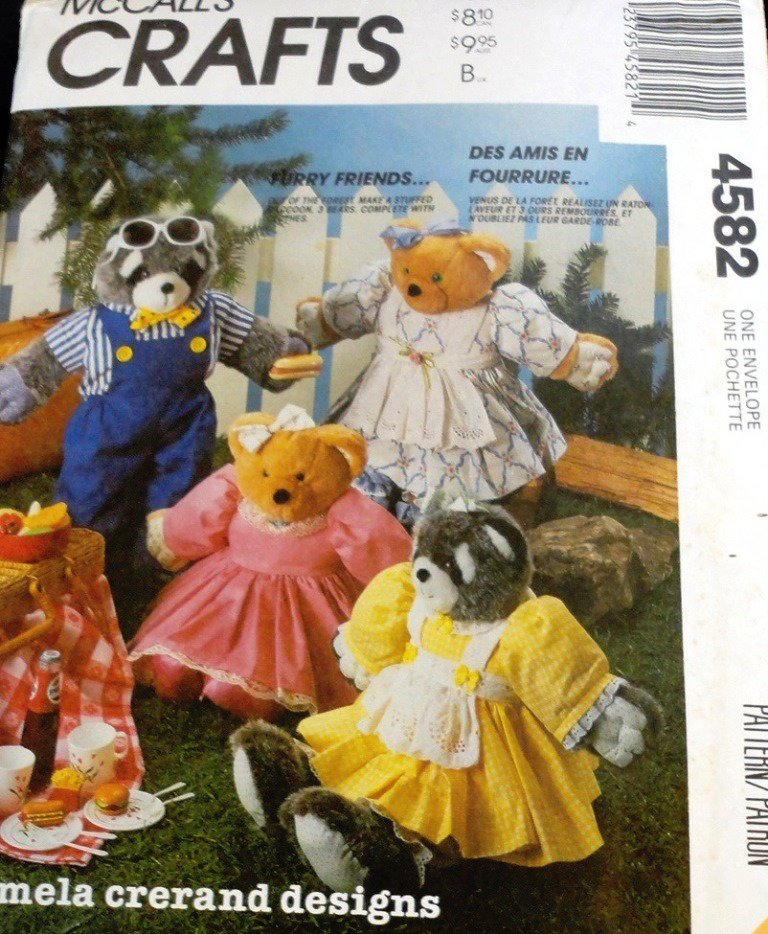 Raccoon Stuffed Animal McCall's 4582 Bear  Doll Sewing Pattern