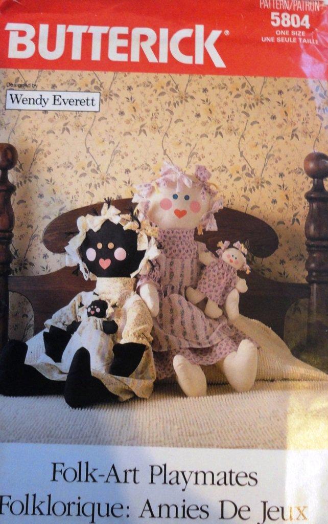 Rag Dolls Butterick 5804 Folk Art Playmates Sewing Pattern