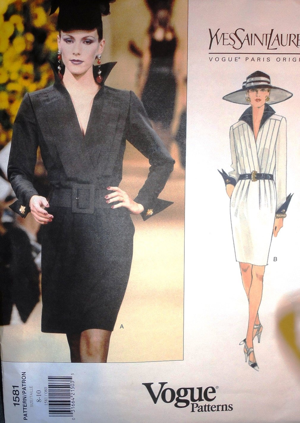 Vogue Sewing Pattern 1581 Yves Saint Laurent Dress size 8-10