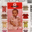 Infant Baby Girl Dress Sewing Pattern McCall's 3532  All Sizes