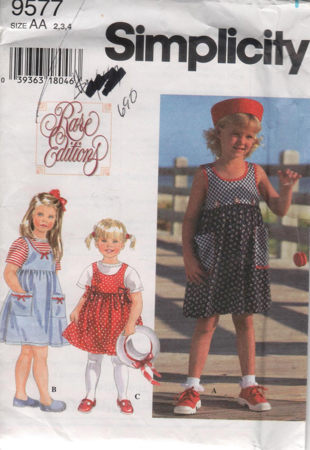 Simplicity 9577 Girls Sundress and Shirt Sewing Pattern  Sizes 2,3,4