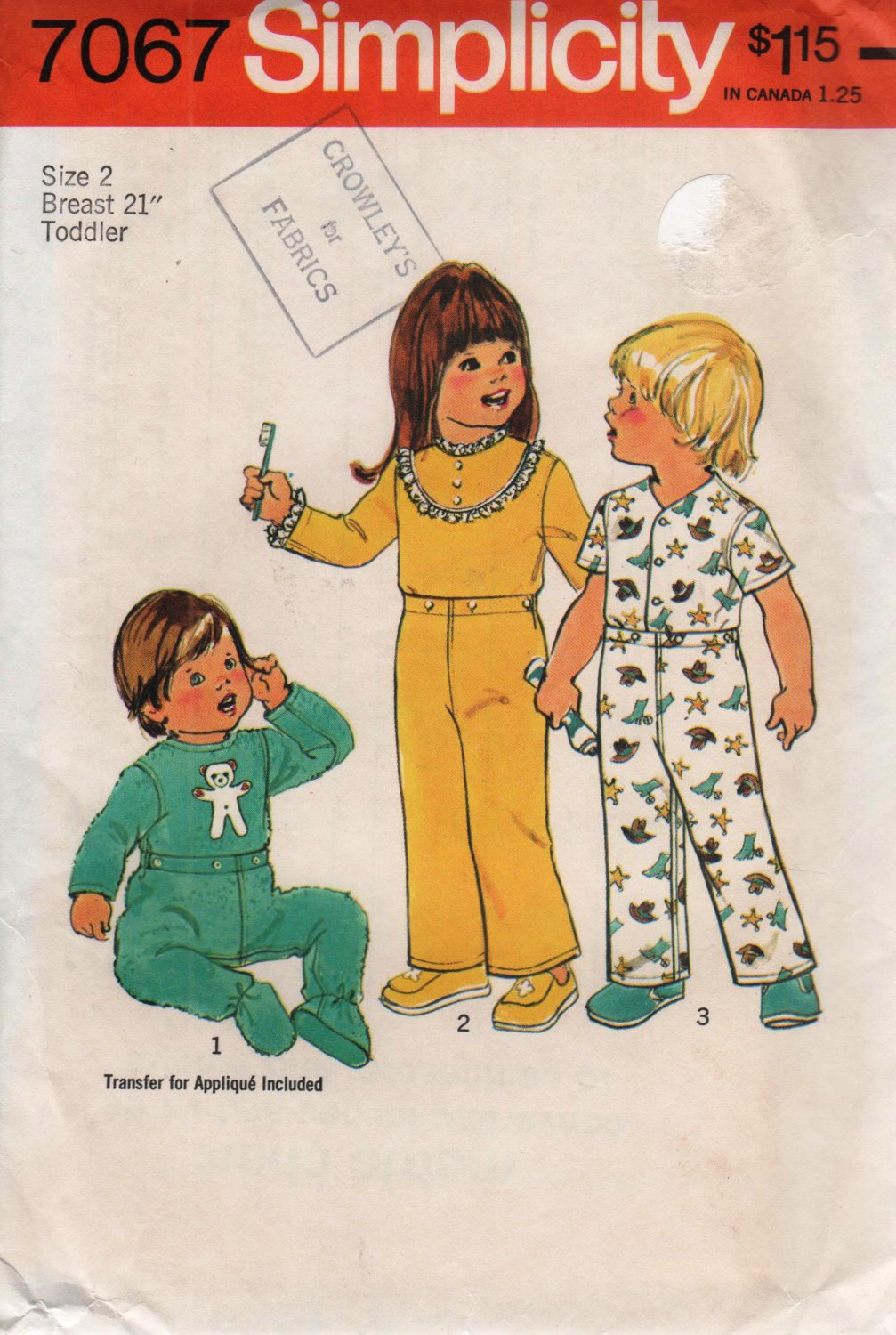 Simplicity 7067 Toddlers Footie Pajamas Sewing Pattern boy or girl size 2 Uncut
