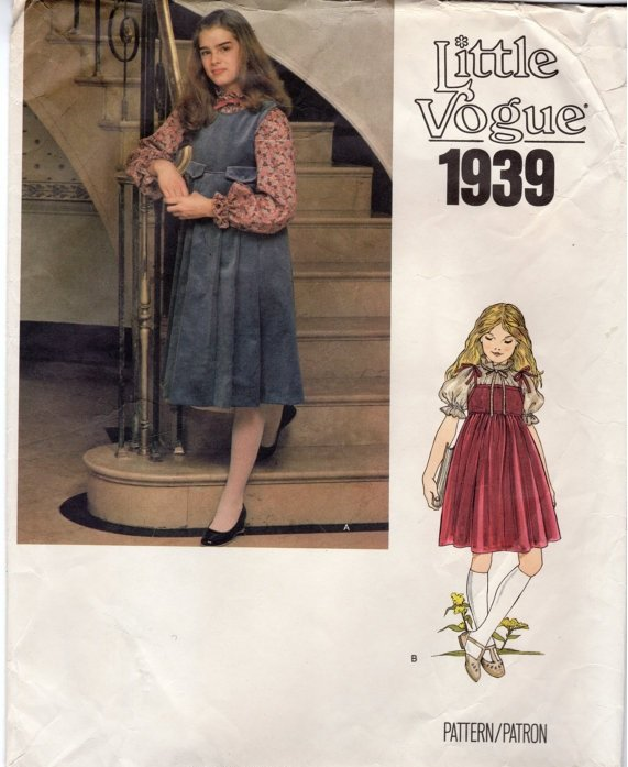 Little Vogue 1939 Uncut Sewing Pattern Jumper and blouse size 8 model Brooke Shields