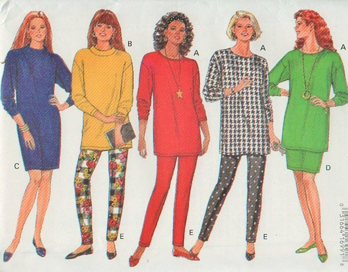 Butterick 6918 Dress Top Skirt Leggings Sewing Pattern for stretch knits 90s style  Sizes xs to med.