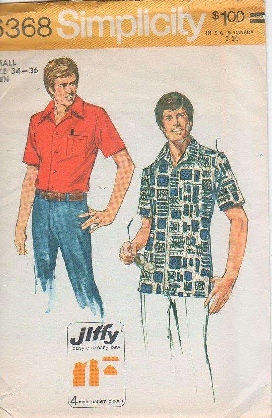 Simplicity 6368 Sewing Pattern - Mens safari style shirt - size 34-36