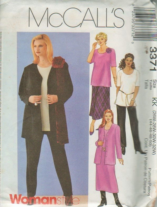 McCall's 3371 Ladies Plus Size Cardigan, Dress, Top, Pull-On Pants & Skirt Sewing Pattern 26W - 32W
