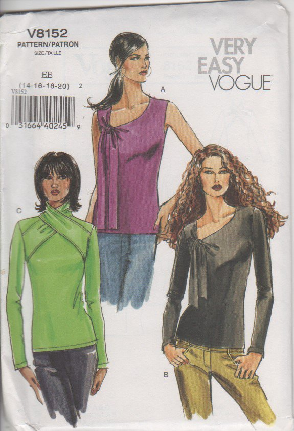 Vogue 8152 Top, blouse sewing pattern sizes 14 16 18 20