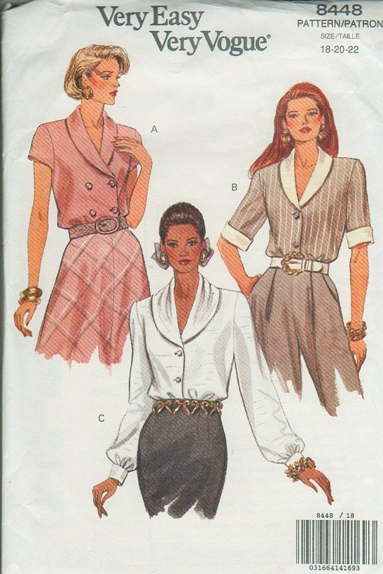 Vogue 8448 Blouse short sleeve long sleeve sewing pattern sizes 18 20 22