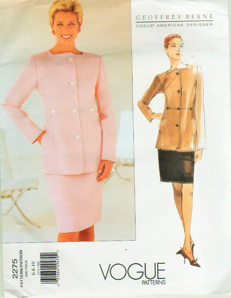 Vogue 2275 Geoffrey Beene Jacket and Skirt sewing pattern sizes 6 8 10